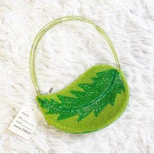 Handbags - Leaf shaped beaded green small handbag clutch new